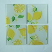 Trina Turk, Glass Coasters, Set of 4, Lemon Yellow with rubber non-slip ... - $14.84