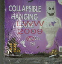 White Ghost with bat Halloween hanging collapsible figure - $3.99