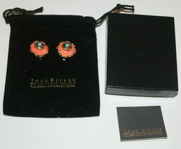 Joan Rivers Faux Coral Gold And Turquoise Gorgeous Clip On Earrings - $43.61