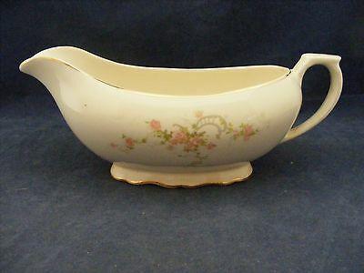 Canonsburg Pottery Keystone Pink Roses Gold Trim Gravy Boat