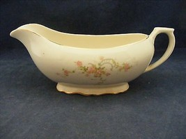 Canonsburg Pottery Keystone Pink Roses Gold Trim Gravy Boat - $19.95