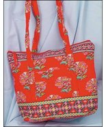 Red Laura Quilted Tote Organizer bag 14.5x12x4 cross stitch - $25.00