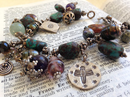 Heavy Silver Bracelet with Chunky Gemstones and Charms - $70.00