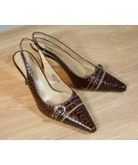 Karen Scott 6 Brown Alligator Print Sling Back Heels - $12.00