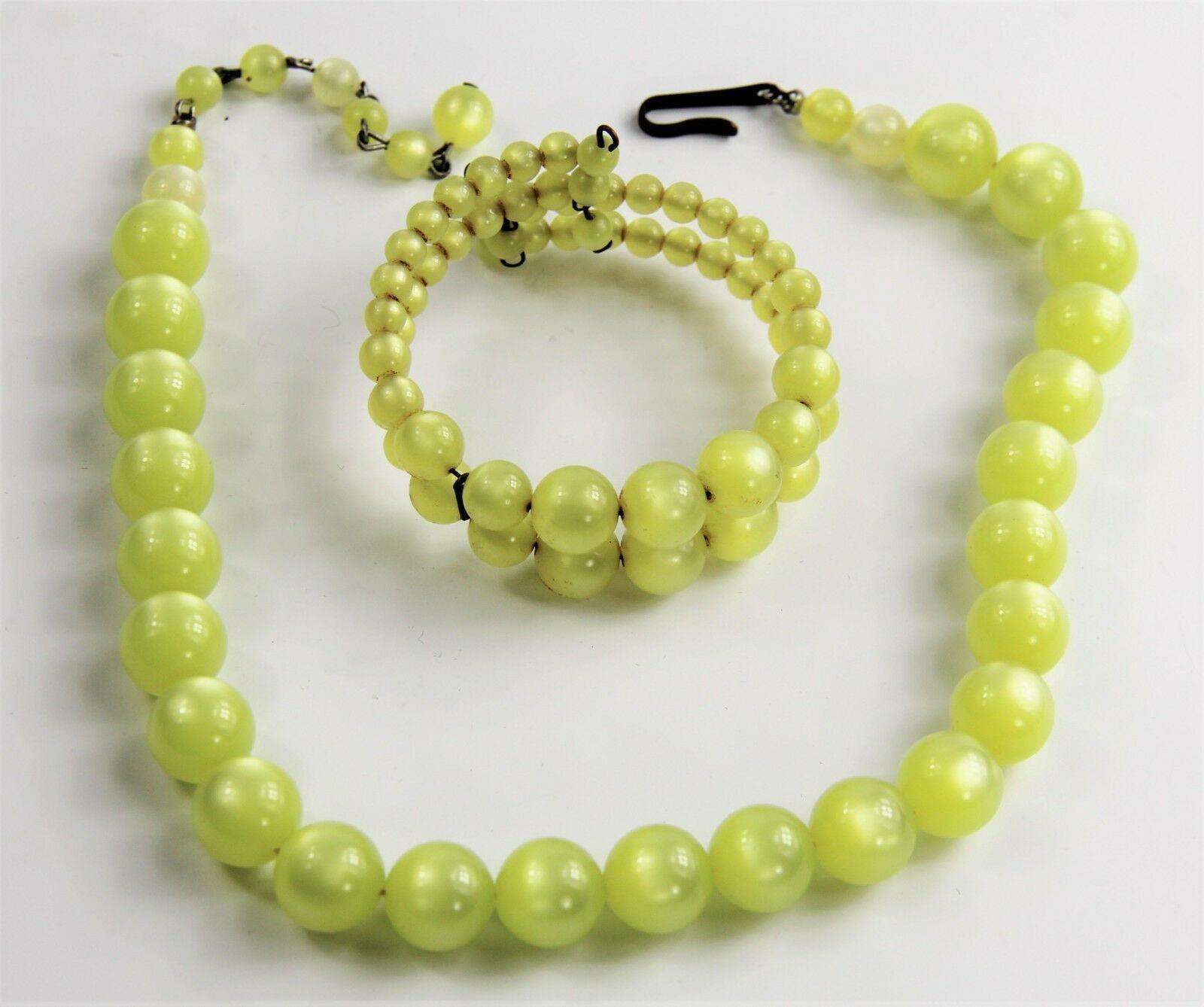 ESTATE VINTAGE Jewelry YELLOW  MOONGLOW PLASTIC SET COIL BRACELET &  NECKLACE