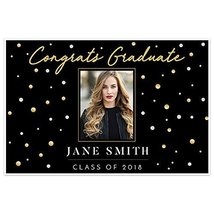 Gold Black Class of 2018 Graduation Banner Personalized Backdrop - £12.72 GBP