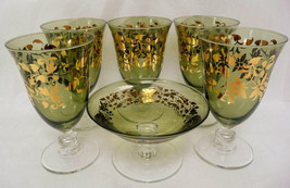 "Green Goblet SC Line Made in Italy Gold Leaves Hand Blown Glass 5.5"" Lot... - $44.95"