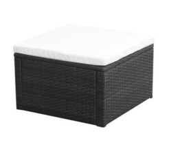 Poly Rattan Ottoman Footstool With Cushion Garden Seat Outdoor Furniture... - $72.99