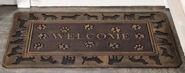 "Dog Design Rubber Doormat With Welcome Sentiment 30"" x 18"" NEW"