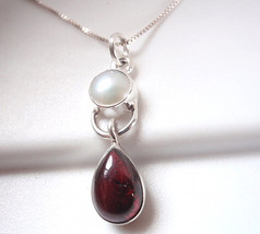 Garnet and Cultured Pearl Pendant 925 Sterling Silver Teardrop Cabochon ... - $18.80