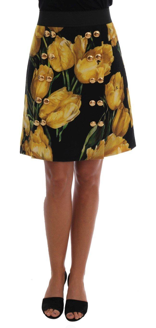 Dolce & Gabbana Multicolor Tulip Print Wool A-line Skirt