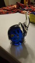 "Light Blue Elephant Art Glass Figurine Base about 3.5"" x 2"" , Z9 - $8.88"