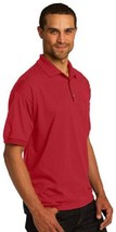 Red Polo Shirt Large Gildan Dryblend Jersey Knit w/Pocket S/S Unisex 8900 New - $19.37