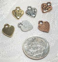 2pcs - Labor Of Love Fine Pewter Pendant Charms - 9mm L X 11mm W X 2mm D image 3
