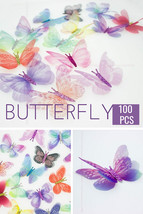 100Pc Butterfly Appliques Organza Fabric Translucent Craft Supply Party ... - $26.17