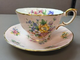 Staffordshire Crown Tea Cup  and Saucer Pink Background Floral Gilt Edge England - $59.39