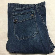 Silver Jeans Cargo Flare Jeans Sz 31 Blue No Waist Band Tabbed Back Pockets - $39.59