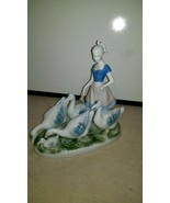 Gerold Porzellan Girl with Geese #7048 Figurine made in Western Germany - $76.64