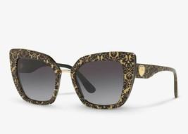Dolce & Gabbana Cat Eye Sunglasses Damasco Glitter Black/Grey DG4359 3214/8G New - $141.57