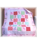 Sock Monkey All Flannel Fabric Patchwork Baby/Toddler Quilt - $54.99