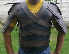Leather armour jacket medieval knight crusader black armour costume - $197.01