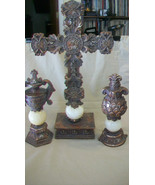 DECORATIVE RESIN CROSS WITH TWO SIDE PIECES, ANTIQUED FINISH RESIN, UNIQUE - $92.81