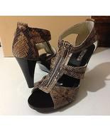 New MICHAEL KORS Berkley T Strap Embossed Snakeskin Heels 8.5M Sand MSRP... - $115.00