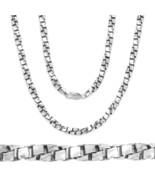 3mm 14k White Gold 925 Sterling Silver Twist Box Link Men Italian Chain ... - $129.18+