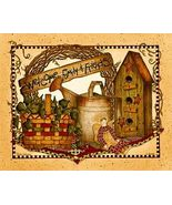 Welcome Family & Friends Folk Art Print Ready-t... - $4.75