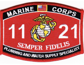 Marine Corps Mos 1121 Plumbing And Water Supply Specialist Embroidered Patch - $16.24