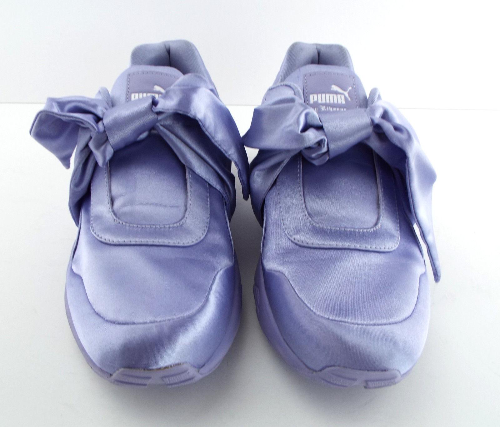 New PUMA RIHANNA Size 9 FENTY Purple Satin Bow Sneakers Shoes image 4
