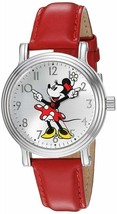 Disney Minnie Mouse Women's Silver Vintage Alloy Watch, Red Leather Stra... - $78.17 CAD