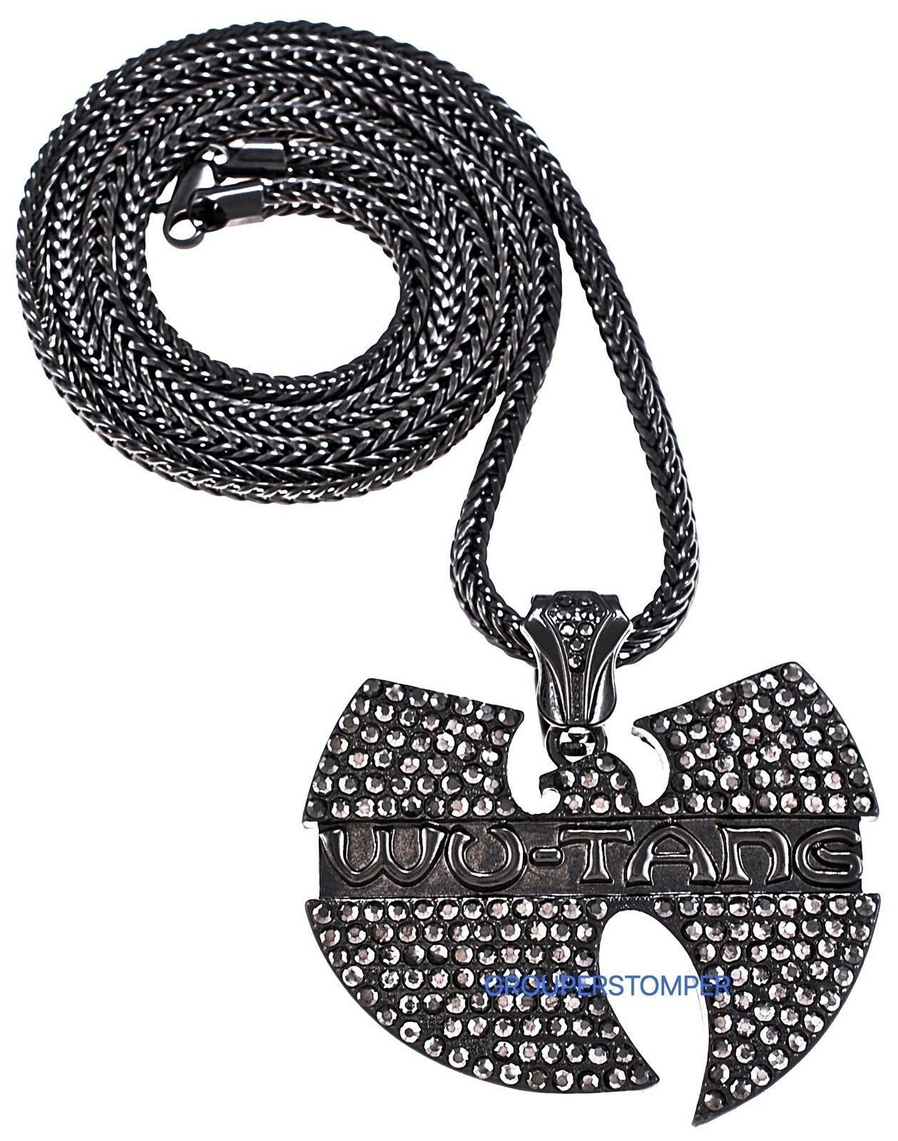 """WU-TANG Necklace New Rhinestone Hip Hop Pendant And 36"""" Franco Style 4mm Chain  - $34.94 - $35.00"""