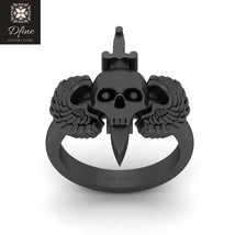 Sword Skull Ring Womens Death's Head Skull and Wings Wedding Ring Gothic Jewelry - $1,699.99