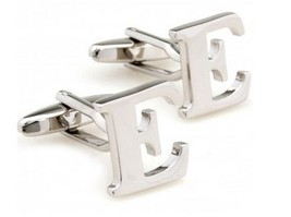 Designer Silver Letter E Mens Cufflinks by Frederick Thomas FT1292