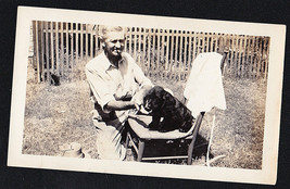 Antique Photograph Man Smoking Cigar With Cute Black Puppy Dog in Yard - $5.94