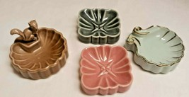 4 Vintage 1950's Wade Ring Pin Trinket Dishes Whimtray Squirrel Shell Pi... - $49.49