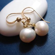 Large Pearl Gold Earrings - Handmade 14k Gold Filled Freshwater - $36.00