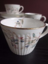 ANTIQUE VICTORIAN Luncheon Set FORGET ME NOT Butterfly TRIO Cup Saucer P... - $24.74