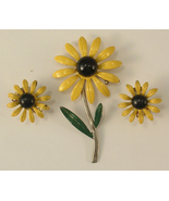Sunflower Yellow, Green, Brown Enamel Brooch and Matching Clip On Earrings - $18.00