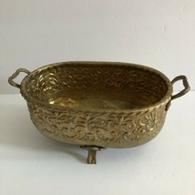 Vintage Brass Hammered Footed Bowl Pot Planter with Handles  - $29.67