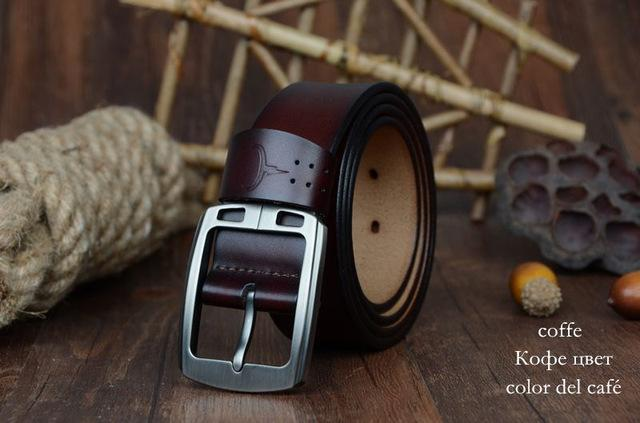 COWATHER cowhide genuine leather belts for men brand Strap male pin buckle vinta image 5