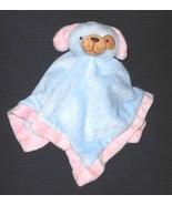 Puppy Dog Baby Security Blanket Blue Pink Trim Brown Eye Spot Lovey - $27.60