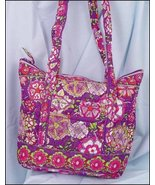 Bright Purple Laura Quilted Tote Organizer bag 14.5x12x4 cross stitch - $25.00