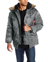 Alpha Industries Men's N-3B Parka Coat PARKA GUNMETAL GUN METAL GREY JAC... - $159.99