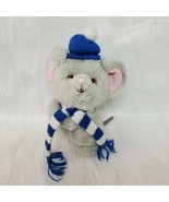 "9"" VTG Russ Rare Mikey Gray Mouse Hat Scarf 7583 Plush Stuffed Toy Korea... - $13.47"