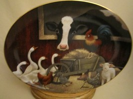 BARNYARD GATHERING Collector Plate Farm COW Sheep Chickens Geese ROOSTER... - $29.99