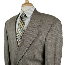 Adolfo Mens Houndstooth Sport Coat Jacket 46S Blazer Tan Black Two Butto... - $23.99