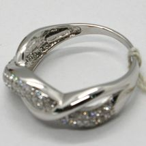 SOLID 18K WHITE GOLD BAND ZIRCONIA RING, ONDULATE, TWISTED, BRAID, MADE IN ITALY image 4