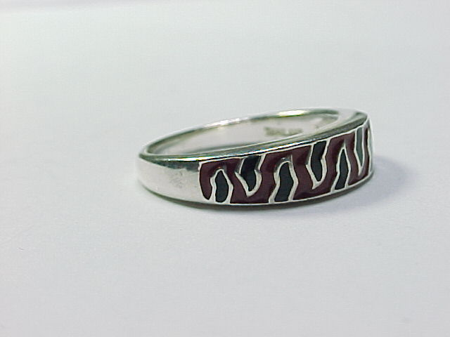RED and BLACK Enameled Animal Print RING in Sterling Silver - Size 7 1/4